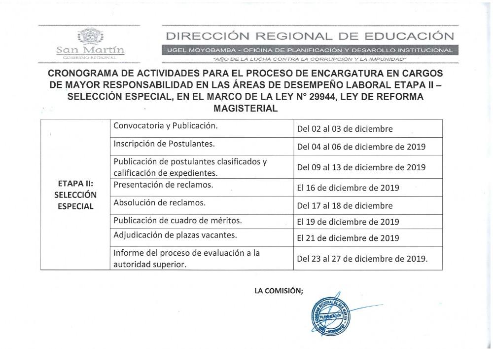 Cronograma de Actividades para el Proceso de Encargatura  en Cargos de Mayor Resposabilidad en las Areas de Desempño Laboral Etapa II- Seleccion Especial, en el Marco de la Ley N° 29944 Ley de Reforma Magisterial